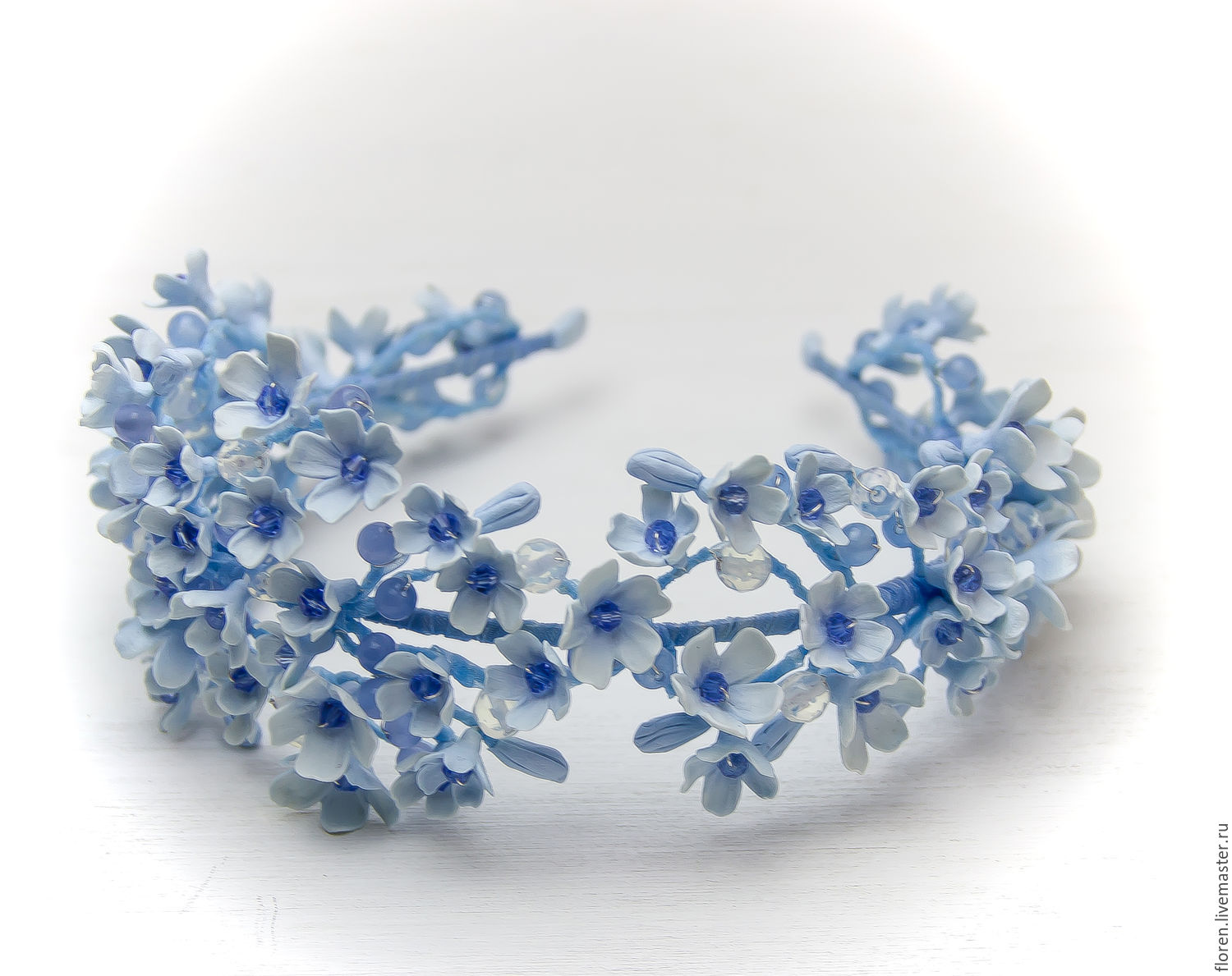 Blue hair wedding headband flower hair accessory flowers girl tiaras headbands handmade livemaster handmade buy blue hair wedding headband flower izmirmasajfo