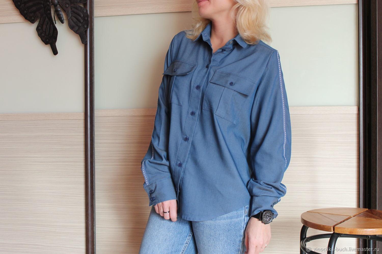949b6defa83 Ярмарка Мастеров - ручная работа. Купить Джинсовая женская рубашка синего  цвета · Блузки ручной работы. Джинсовая женская рубашка синего цвета с  лампасами ...