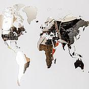 Дизайн и реклама handmade. Livemaster - original item Mirrored world Map 130h78 cm. Handmade.