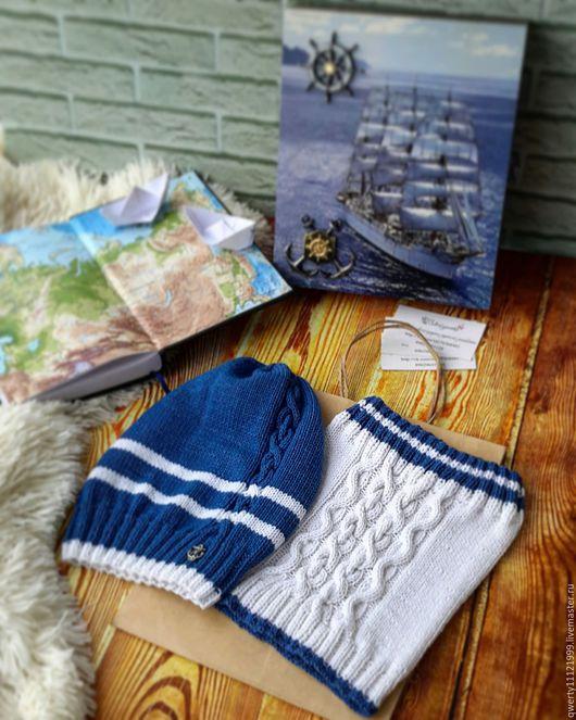 """Шапки и шарфы ручной работы. Ярмарка Мастеров - ручная работа. Купить Комплект """"Морское приключение"""" шапка бини и снуд. Handmade."""