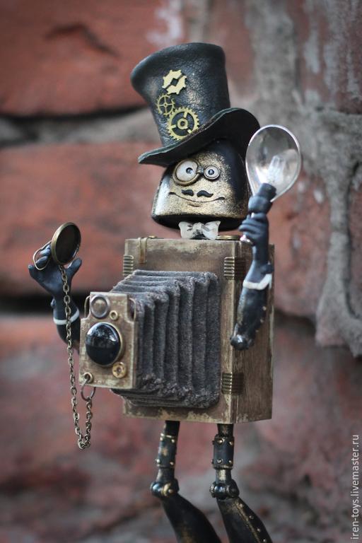 Куклы и игрушки ручной работы. Ярмарка Мастеров - ручная работа. Купить Добрый фотограф Джозеф. Handmade. Коричневый, пластика
