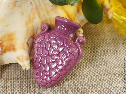 Для украшений ручной работы. Ярмарка Мастеров - ручная работа. Купить Аромакулон керамический №9 (фиолетовый). Handmade. Аромакулон, ароматерапия