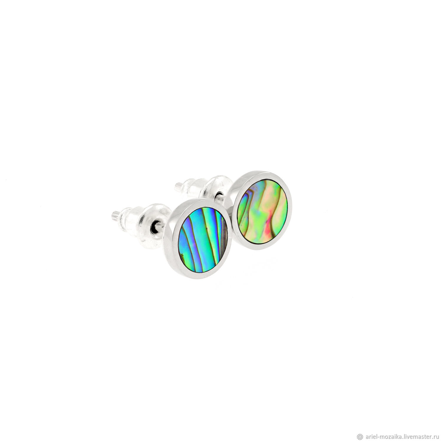 Stud earrings. Mother Of Pearl Abalone. Silver earrings, Stud earrings, Moscow,  Фото №1