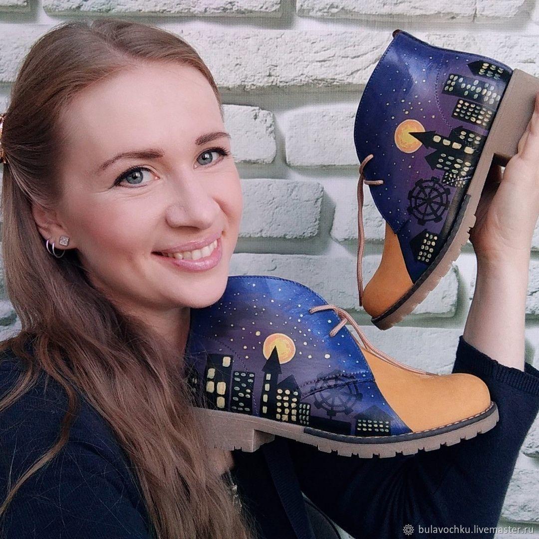 Ботинки кожаные с росписью, Ботинки, Екатеринбург, Фото №1