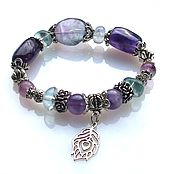Украшения handmade. Livemaster - original item Б40 Bracelet made of fluorite and amethyst. Handmade.