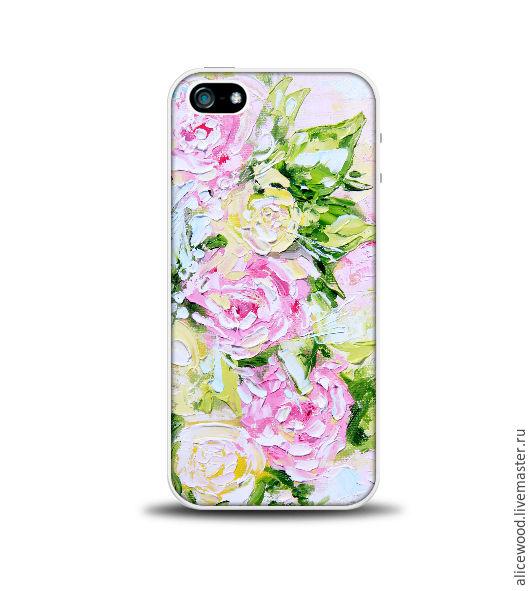 Авторский чехол с цветами для iPhone 5/5S Чехол-накладка из твердого глянцевого пластика. Надежно защищает заднюю поверхность телефона. Печать по всей поверхности чехла.