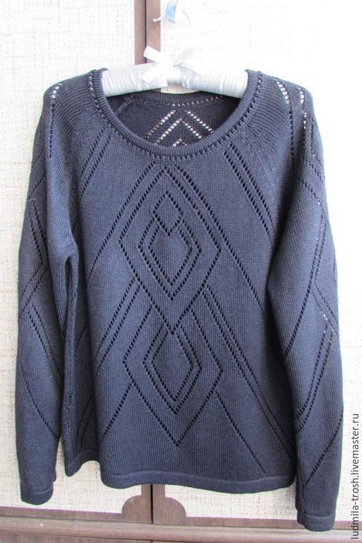 Кофты и свитера ручной работы. Ярмарка Мастеров - ручная работа. Купить пуловер черный ажурный. Handmade. Черный, пуловер вязаный