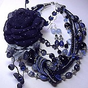 Украшения handmade. Livemaster - original item the night sky. kit. necklace, 2 brooches and earrings.. Handmade.