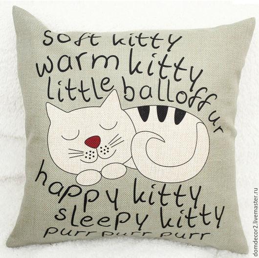 """Текстиль, ковры ручной работы. Ярмарка Мастеров - ручная работа. Купить Подушка  """"Котик спящий"""". Handmade. Комбинированный, лён искусственный"""