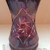 Vintage interior handmade. Livemaster - original item Vase ruby colored glass Germany. Handmade.