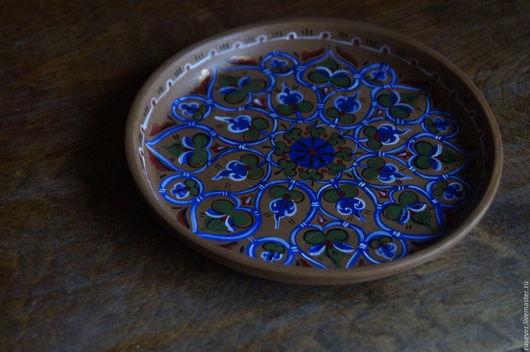Посуда ручной работы. Ярмарка Мастеров - ручная работа. Купить Тарелка, керамика, византийская роспись. Handmade. Синий, византия, темпера