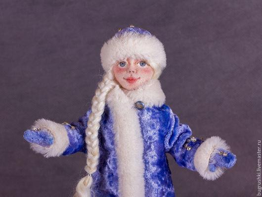 Коллекционные куклы ручной работы. Ярмарка Мастеров - ручная работа. Купить Снегурочка. Handmade. Голубой, валяная снегурочка, павловопосадский платок