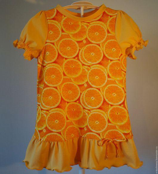 Одежда для девочек, ручной работы. Ярмарка Мастеров - ручная работа. Купить Детское платье с апельсинами. Handmade. Разноцветный, апельсин