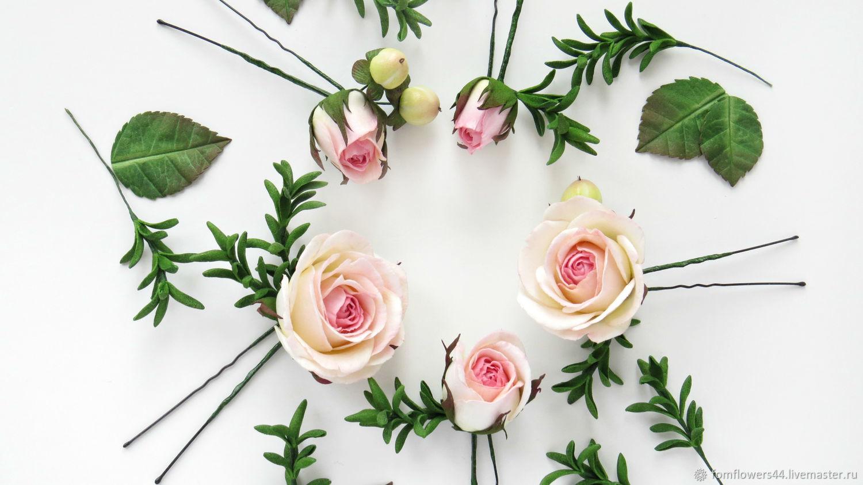 Шпильки с розами и розмарином из фоамирана для розовой свадьбы, Свадебные украшения, Кострома, Фото №1