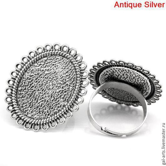 """Для украшений ручной работы. Ярмарка Мастеров - ручная работа. Купить Кольцо-сеттинг """"Овал"""". Handmade. Античное серебро, кольцо"""