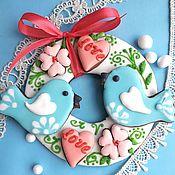 Сувениры и подарки handmade. Livemaster - original item Gingerbread love birds. Stick on Valentine`s Day. Handmade.