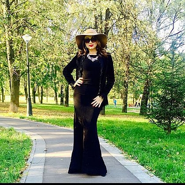 Одежда handmade. Livemaster - original item Luxury black dress with train. Handmade.