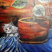 Картины и панно ручной работы. Ярмарка Мастеров - ручная работа Кот и фикус. Handmade.