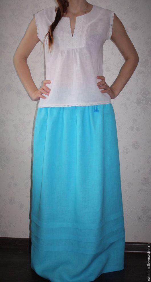 """Блузки ручной работы. Ярмарка Мастеров - ручная работа. Купить Льняная блузка """"Белоснежка"""". Handmade. Белый, одежда для отдыха"""