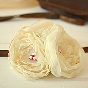 Украшения handmade. Livemaster - original item Brooch made of fabric barrette. White bouquet.. Handmade.