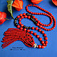 Sotuar with a Coral tassel Coral necklace Buy a sotuar of natural coral Buy coral necklace Nina Pylnova SilverBox