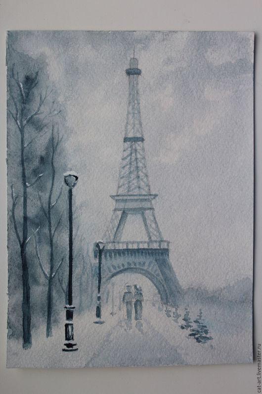 """Город ручной работы. Ярмарка Мастеров - ручная работа. Купить Акварель """"Париж"""". Handmade. Серый, картина акварель, картина в подарок"""