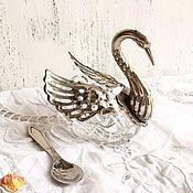 Винтаж ручной работы. Ярмарка Мастеров - ручная работа Винтажная солонка в виде лебедя с ложечкой. Handmade.