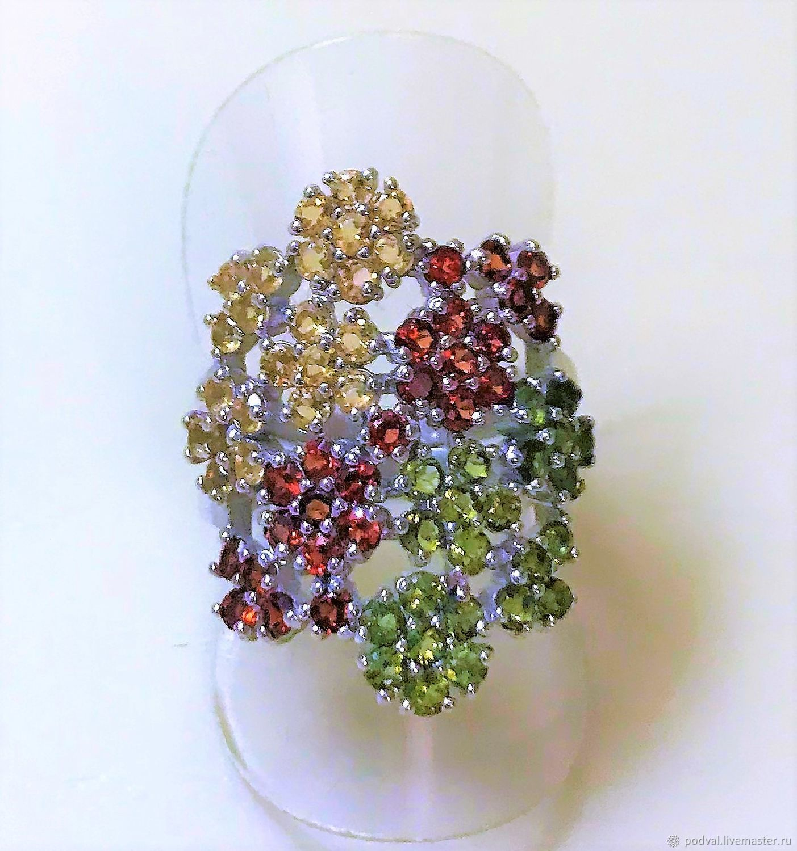Кольца ручной работы. Ярмарка Мастеров - ручная работа. Купить Кольцо серебряное с натуральными камнями 'Цветущий сад'(р 17). Handmade.