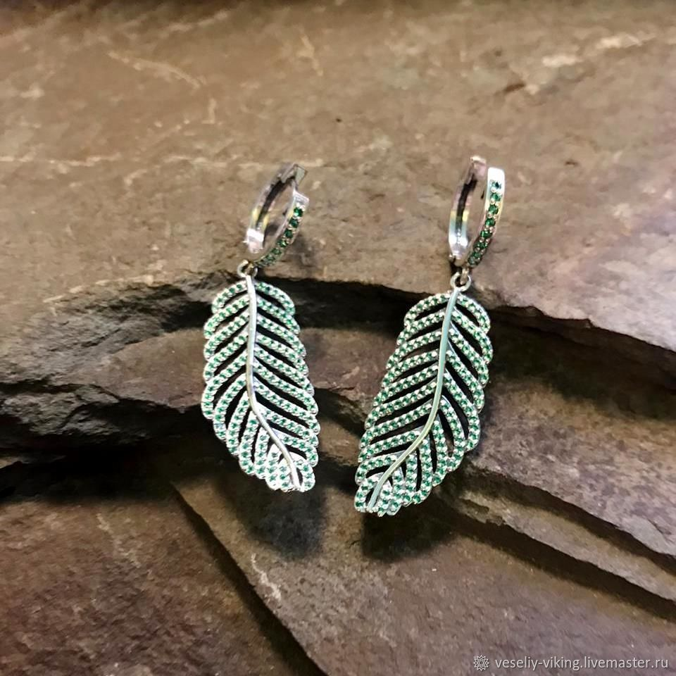 Earrings 'fern Leaves', Earrings, Sochi,  Фото №1