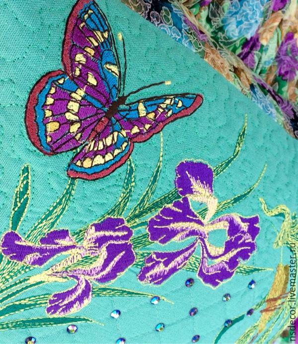 """Текстиль, ковры ручной работы. Ярмарка Мастеров - ручная работа. Купить Подушка интерьерная """"Вальс цветов.Ирисы"""". Handmade."""