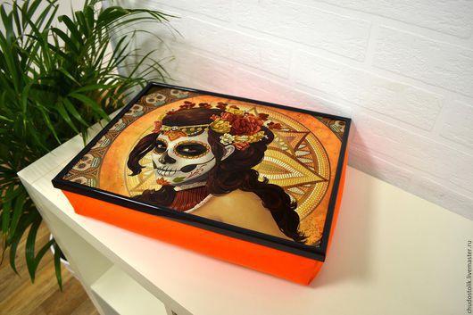 Подарки на Хэллоуин ручной работы. Ярмарка Мастеров - ручная работа. Купить Хэллоуин. Столик-поднос на подушке. Handmade. Оранжевый