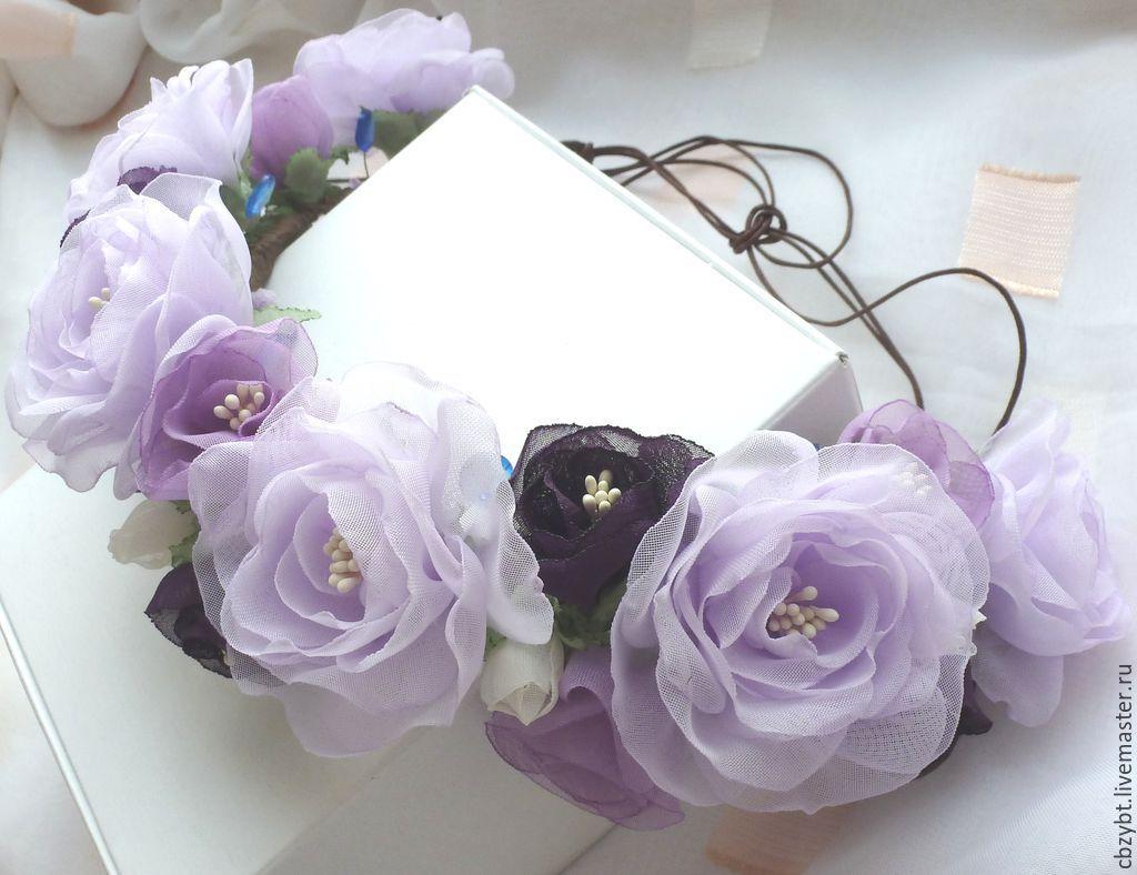 Wreath with handmade flowers ' Purple haze', Tiaras, Yurga,  Фото №1