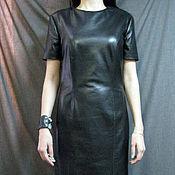 Одежда ручной работы. Ярмарка Мастеров - ручная работа Классическое чёрное кожаное платье. Handmade.