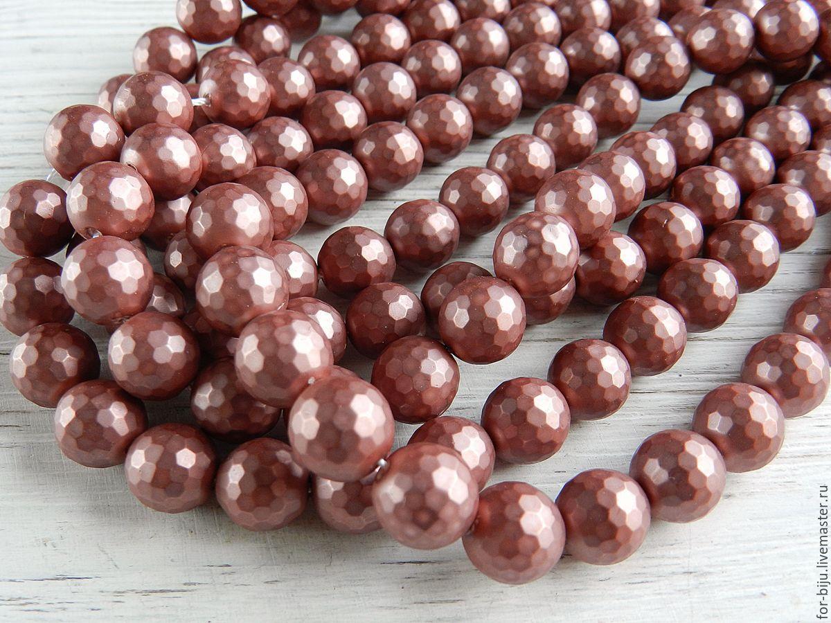 Жемчуг Shell Pearl (аналог майорки)  , цвет old rose (розовый с лиловым оттенком) граненый, размер 10 мм, отверстие около 0,8-1 мм.