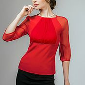 "Одежда ручной работы. Ярмарка Мастеров - ручная работа Блузка шелковая ""Алый цвет"". Handmade."