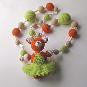 Одежда handmade. Livemaster - original item slingobusy knitted rattle a fox in a dress, orange/green. Handmade.