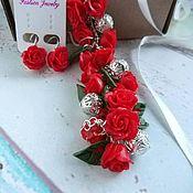 Браслет из бусин ручной работы. Ярмарка Мастеров - ручная работа Браслет из роз Красный из Полимерной глины. Handmade.
