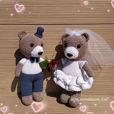 Свадебный салон ручной работы. Ярмарка Мастеров - ручная работа Свадебные мишки. Вязаные игрушки крючком. Handmade.