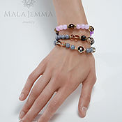Украшения handmade. Livemaster - original item Grey purple Triple bracelet - beads. Handmade.