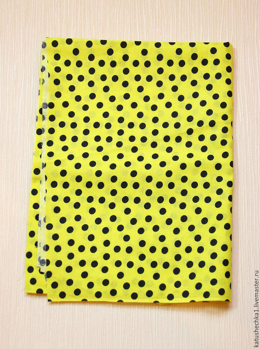 Шитье ручной работы. Ярмарка Мастеров - ручная работа. Купить ткань хлопок Горошки на желтом.. Handmade. Лимонный, ткань