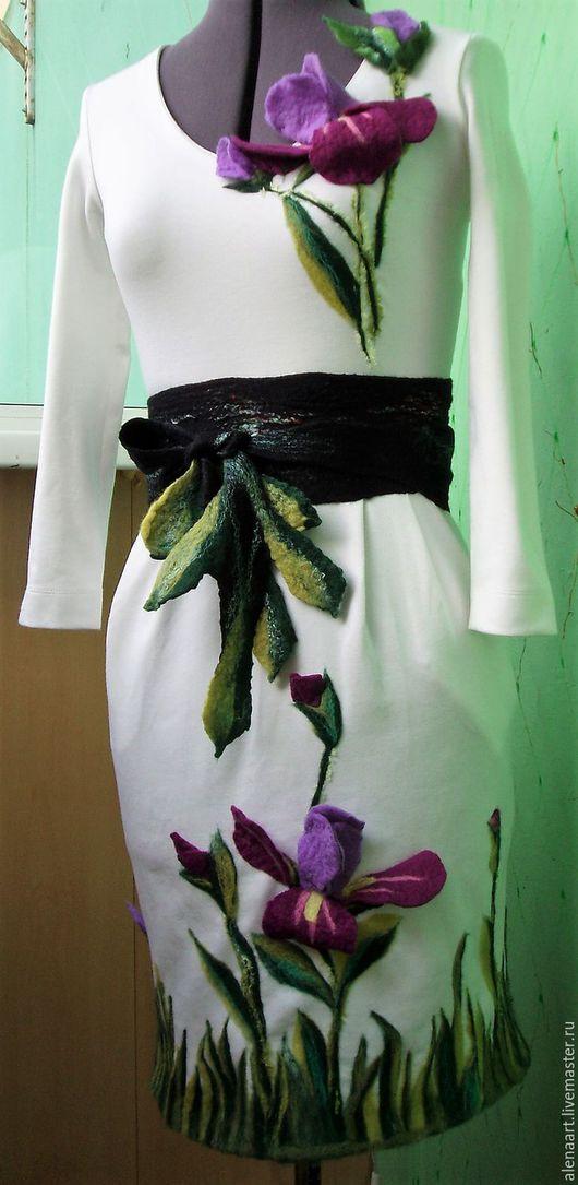 Платья ручной работы. Ярмарка Мастеров - ручная работа. Купить Платье трикотажное с валяным поясом. Handmade. Белый, Валяние, пряжа