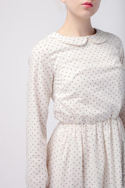 Платья ручной работы. Ярмарка Мастеров - ручная работа. Купить Платье в горошек. Handmade. Комбинированный, платье с рукавами, хлопок 100%