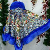 """Одежда ручной работы. Ярмарка Мастеров - ручная работа Пончо с капюшоном """"Миндаль""""140-синий. Handmade."""