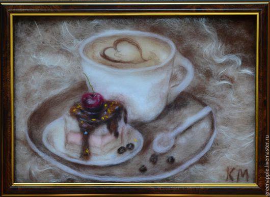 """Натюрморт ручной работы. Ярмарка Мастеров - ручная работа. Купить """"Кофе с пирожным"""". Handmade. Коричневый, Кафе, картина для кухни"""