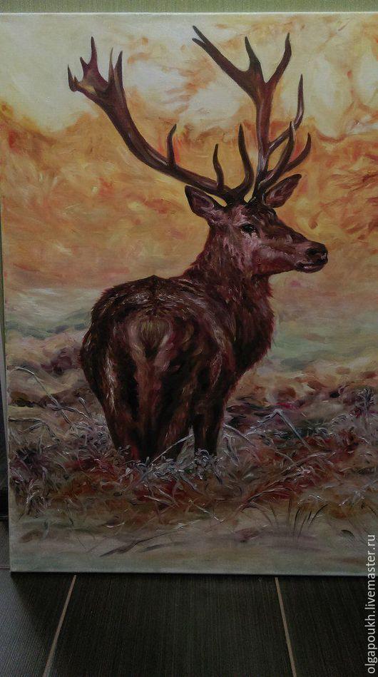 """Животные ручной работы. Ярмарка Мастеров - ручная работа. Купить Картина """"Ноябрьский олень"""". Handmade. Комбинированный, ноябрь, иней, закат"""
