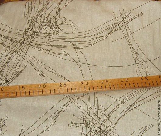Шитье ручной работы. Ярмарка Мастеров - ручная работа. Купить Ткань лён с рисунком.. Handmade. Ткань компаньон, для кукол