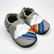 Одежда детская handmade. Livemaster - original item Baby shoes Rainbow, Gray baby slippers, Kids Slippers, Ebooba. Handmade.