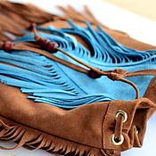 Сумки и аксессуары ручной работы. Ярмарка Мастеров - ручная работа Индейская сумка / кожаная сумочка с бахромой. Handmade.