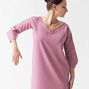 Одежда ручной работы. Ярмарка Мастеров - ручная работа Платье розовое в полоску с архитектурным рукавом. Handmade.