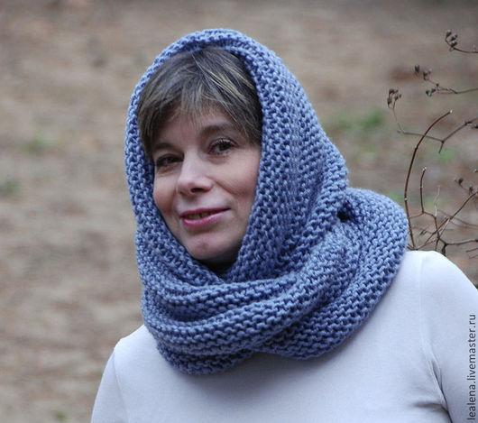 """Шали, палантины ручной работы. Ярмарка Мастеров - ручная работа. Купить Снуд-шарф меланж  """"Голубая гортензия"""" (полушерсть). Handmade."""